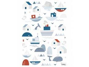 s1287 stickers enfant bateau baleine mer lilipinso