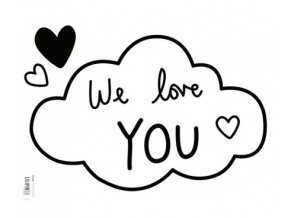 s1010 stickers love you noir deco chambre lilipinso