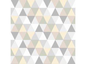 Rasch Vliesová Tapeta Triangles šedá, béžová