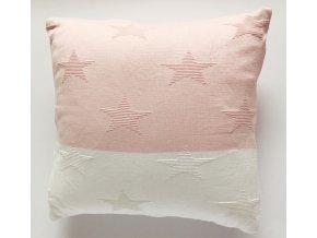 Polštář Hvězdy bílá / růžová 40 x 40 cm