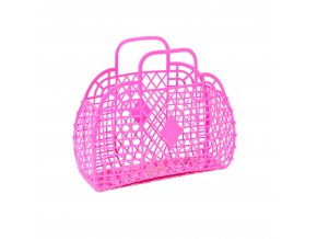 Hot pink retro basket large