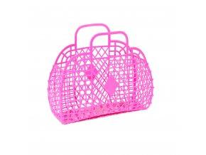 Hot pink retro basket large