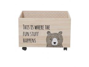 Bloomingville Dřevěný box na kolečkách