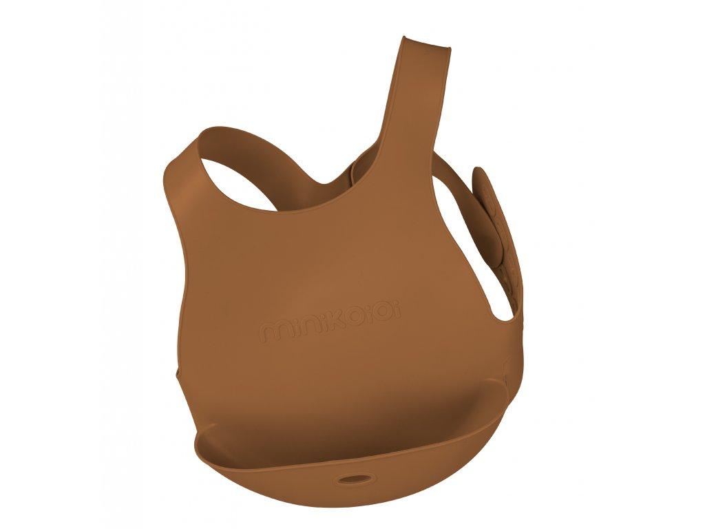 Silikónový podbradník s vreckom hnedý