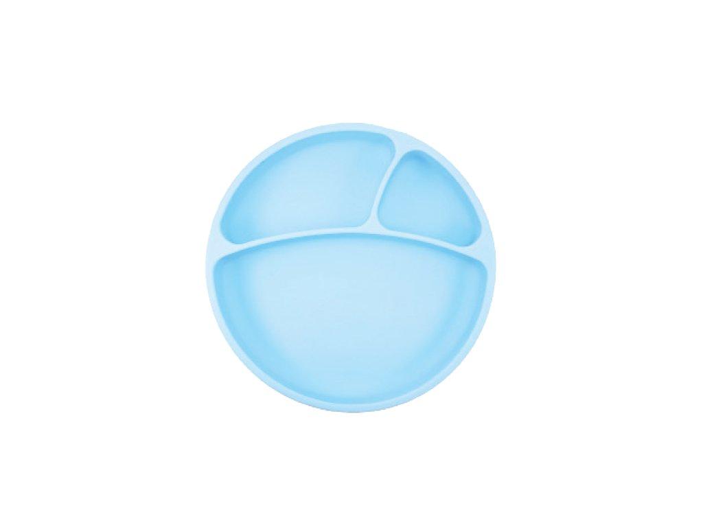 Minikoioi delený silikónový tanier s prísavkou modrý