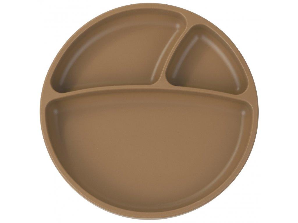 Silikónový delený tanier s prísavkou hnedý