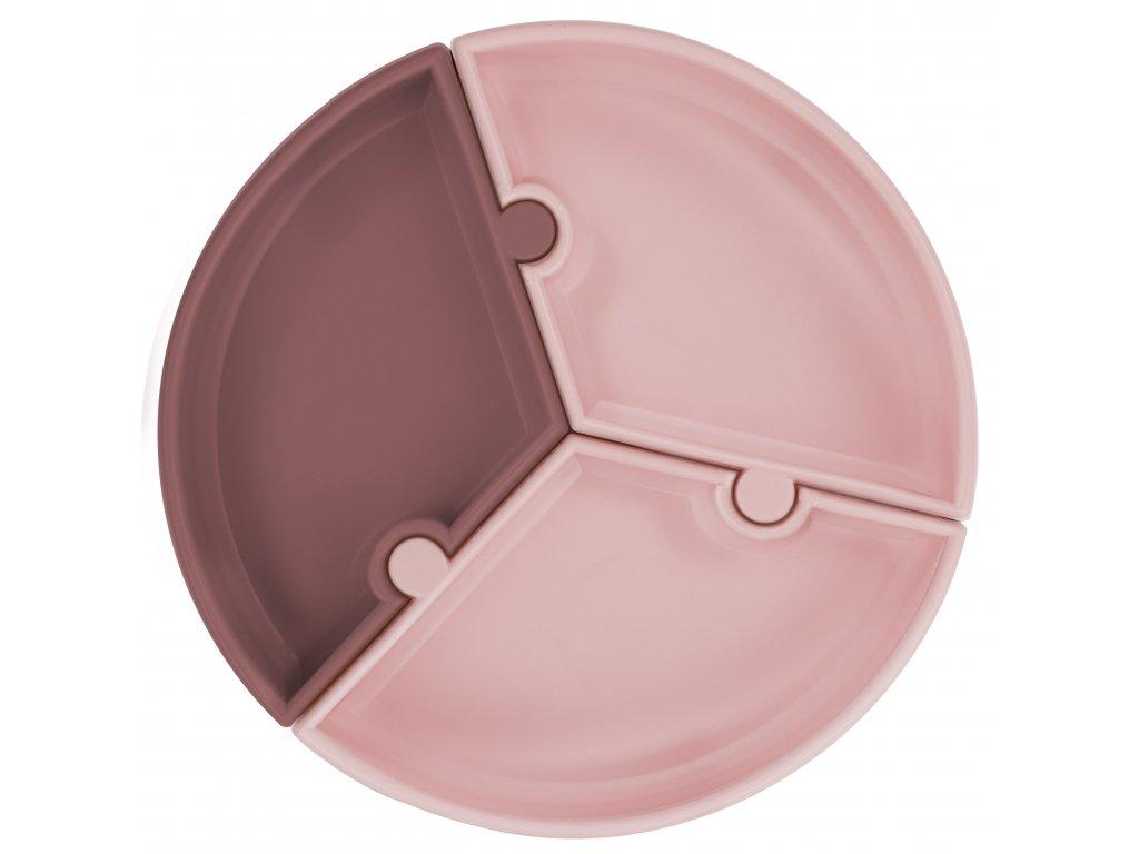 Tanier s prísavkou Puzzle bordovo ružový