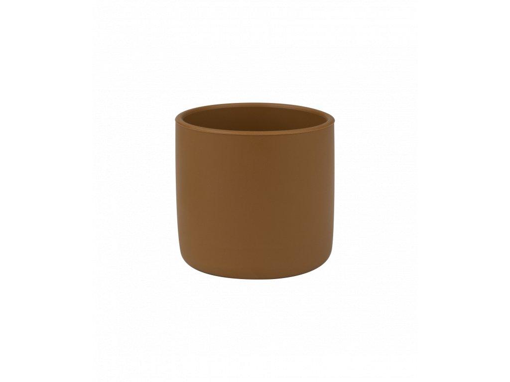 Silikónový pohárik pre dieťa hnedý