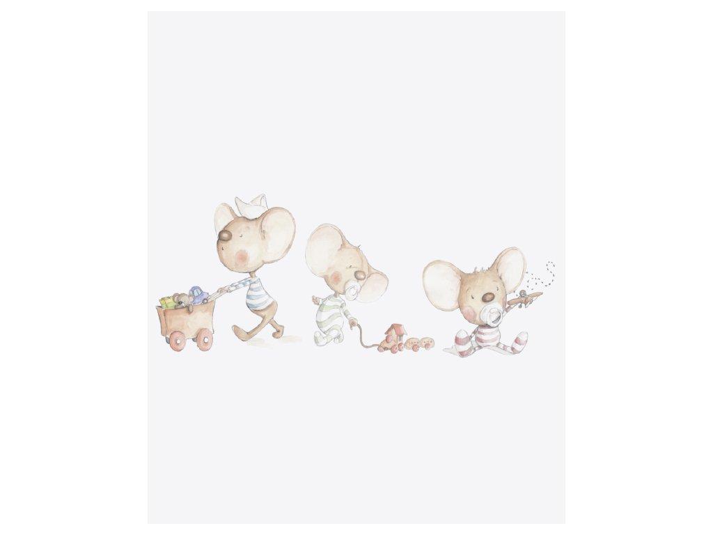 Myšky s hračkami vinylová nálepka