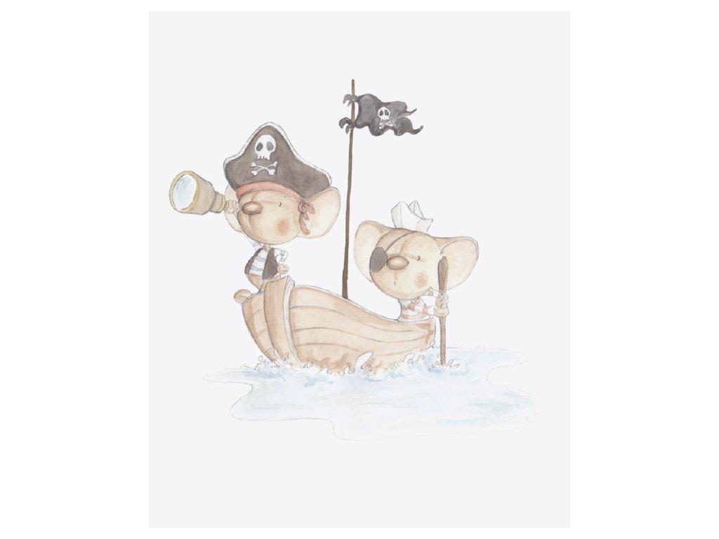 Malovaná nálepka vinyl myšky piráti