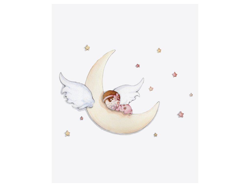 Nálepka na stenu spánok na mesiaci