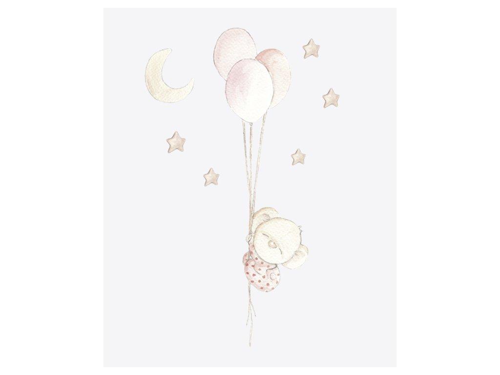 Balón s medvedíkom ružová nálepka
