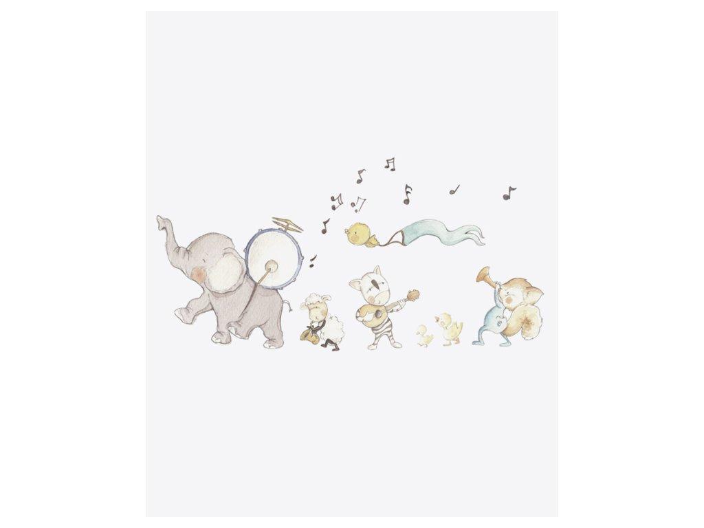 Nálepka na stenu hudobné zvieratká