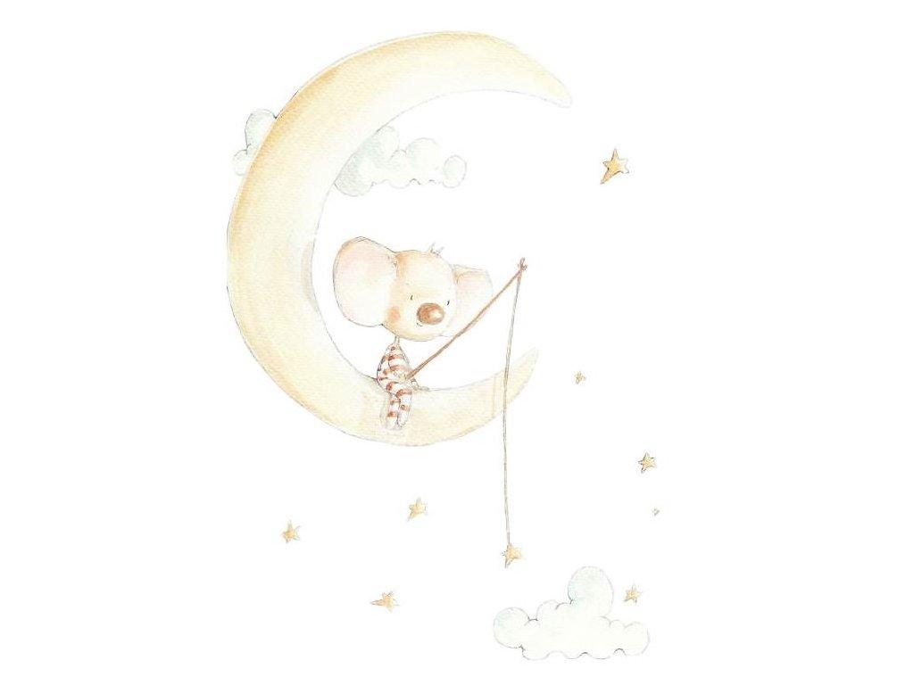 Nálepka myška na mesiaci