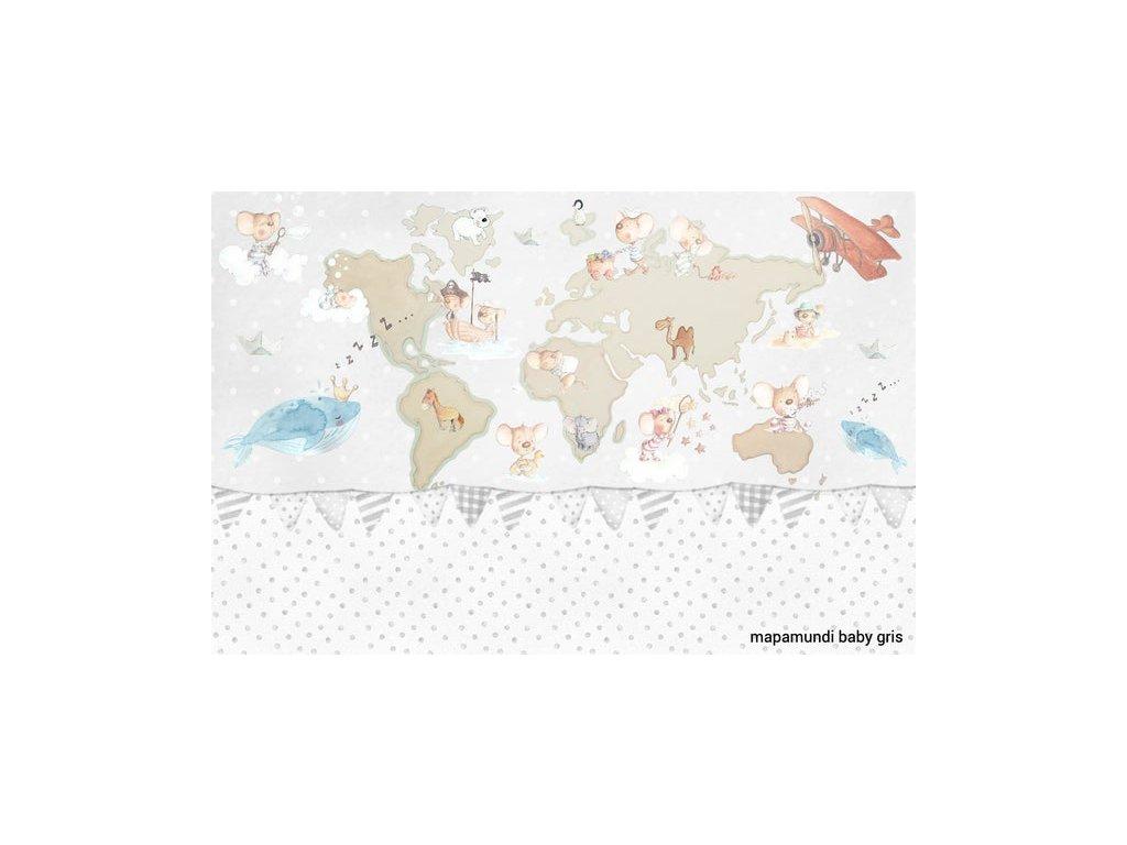 Béžová maľovaná samolepiaca nálepka mapa