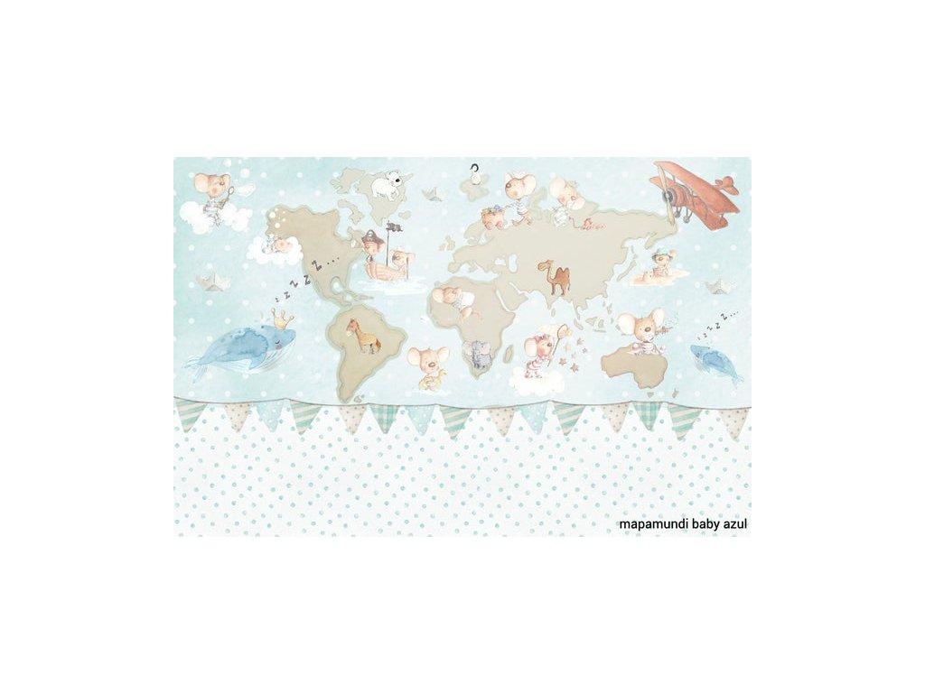 Nástenná maľba mapa sveta modrá
