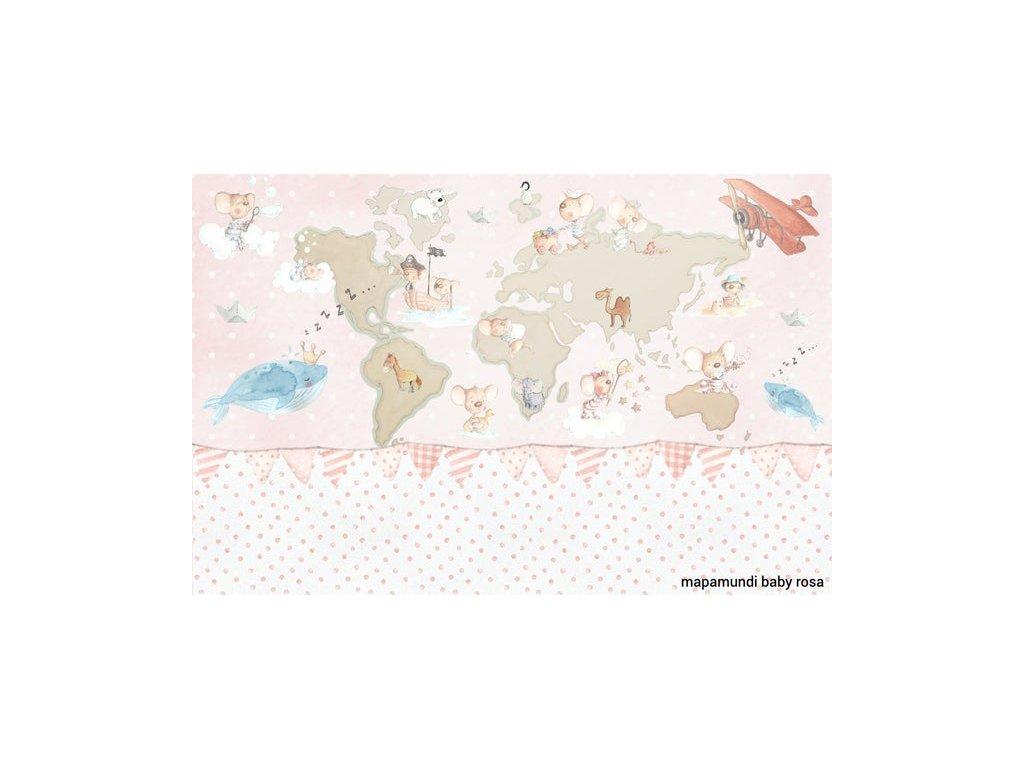 Mapa sveta ružová