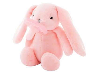 Ružový uspávačik zajačik s cumlíkom