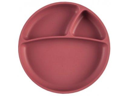 Detský silikónový tanier bordový