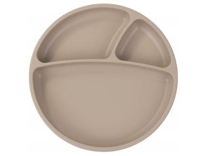 Silikónový delený tanier s prísavkou béžový