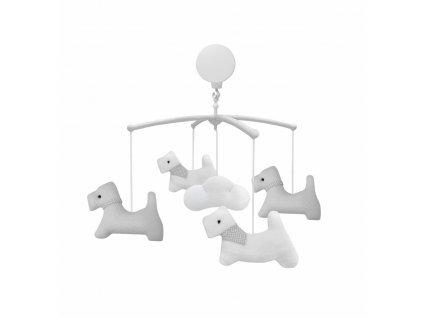 Caramella Pure Grey hrací kolotoč nad postýlku šedý