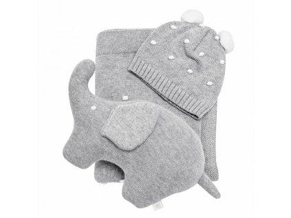 Caramella pletená souprava pro miminko šedá