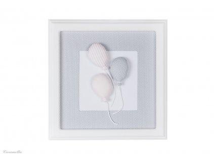 Caramella Baby Pink textilní dětský obraz balónky šedý
