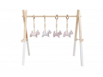 Caramella Baby Pink dřevěná hrací hrazda růžová