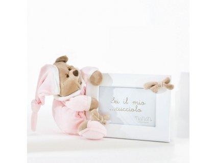 12455 nanan detsky fotoramik s medvedikom puccio 18x13cm ruzovy