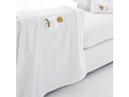 21797 nanan plysova deka do postielky s medvedikom tato120x170cm biela