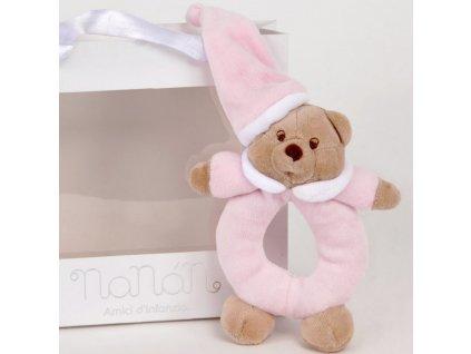 Nanán plyšové chrastítko medvídek Puccio růžový