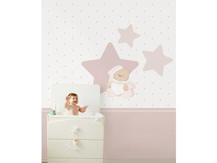 Nanán Puccio tapeta do dětského pokoje růžová