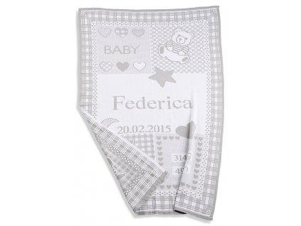 Italbaby dětská deka se jménem a údaji o narození šedá