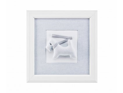 Nejmilovanější dětský mazlíček - pejsek, ve světle šedých barvách. Vnitřní část obrázku je vyrobena z měkkého textilu.