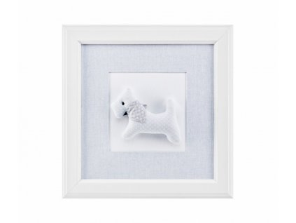 Caramella Pure Grey textilní obraz pejsek se šátkem šedý