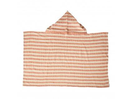 Quax mušelínová osuška s kapucí Stripes meruňková
