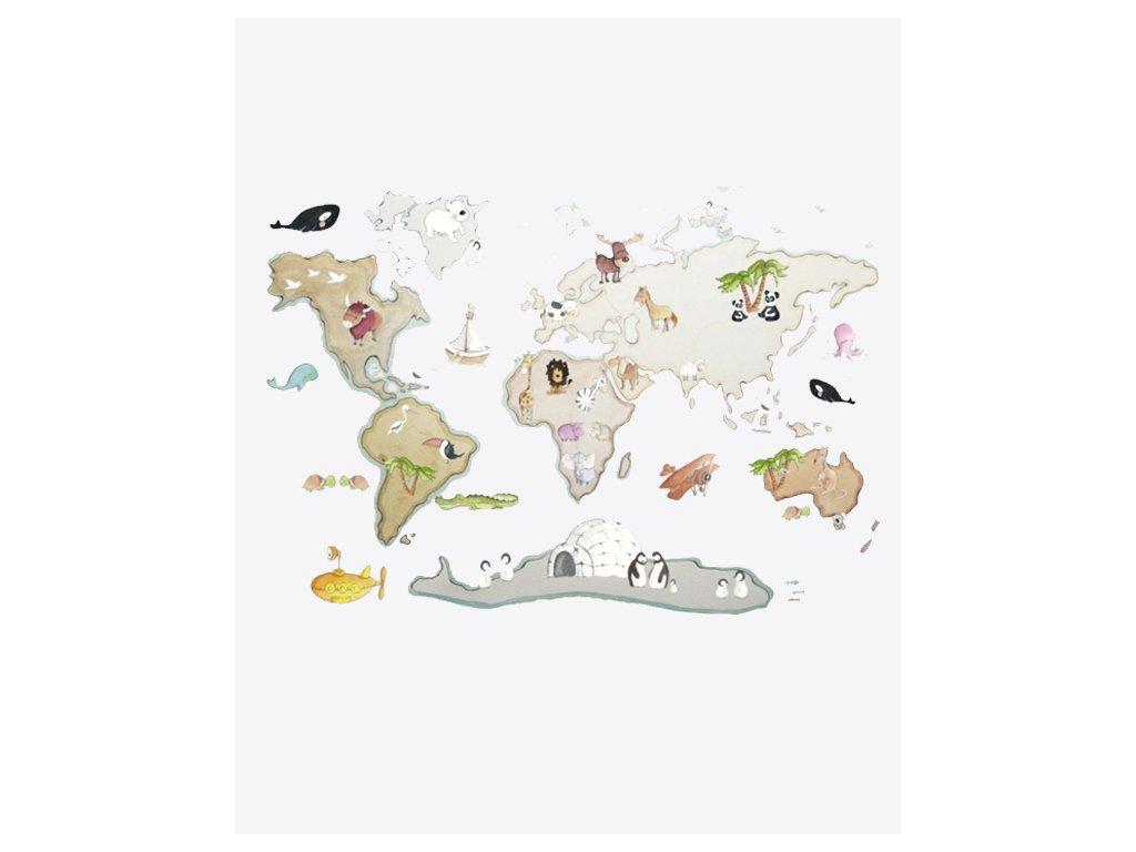 Nálepka na stenu mapa sveta XL