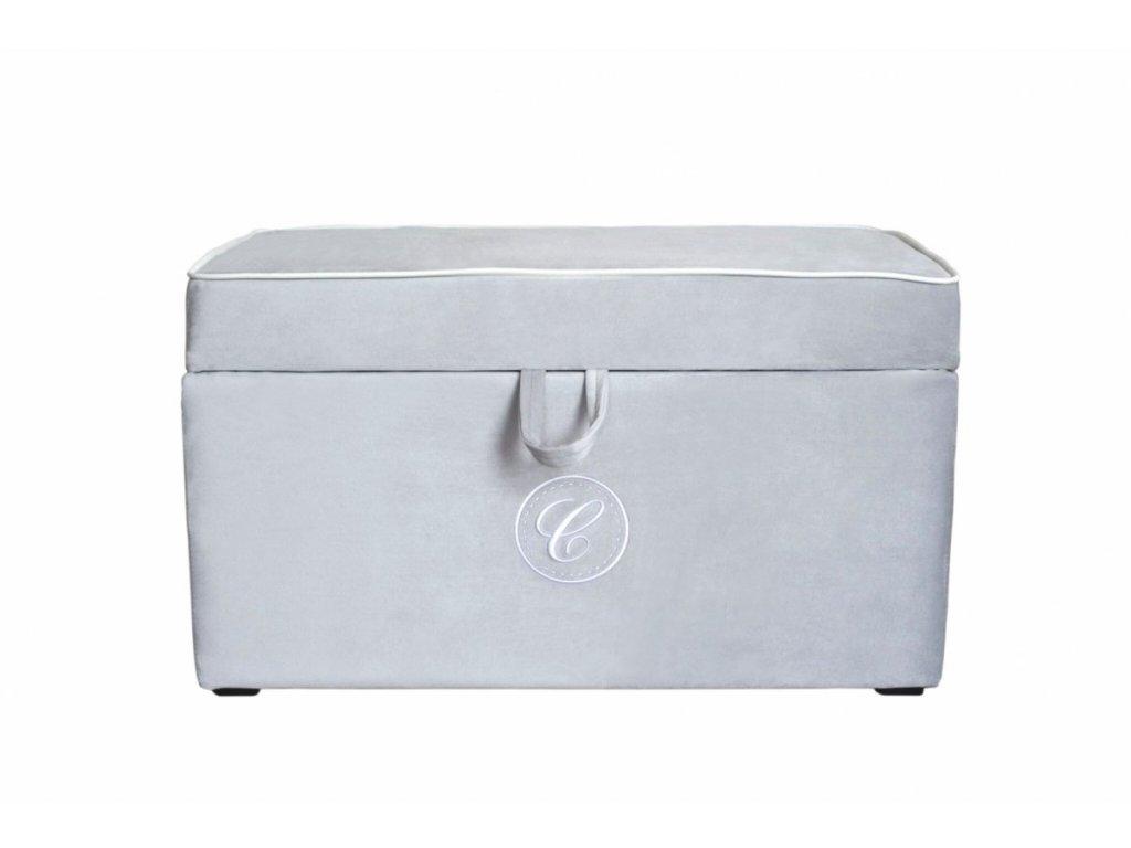 Caramella čalúnený úložný box na hračky šedý