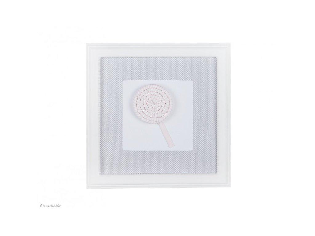 20411 caramella textilny detsky obraz lizanka 30x30cm bledo seda