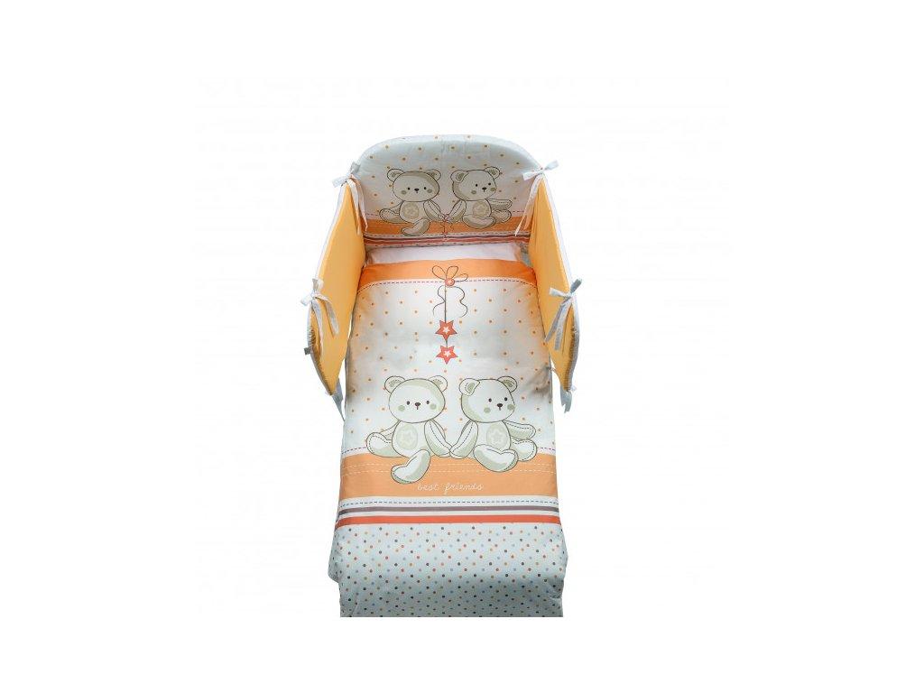 Italbaby Amici mantinel s posteľnou bielizňou oranžový