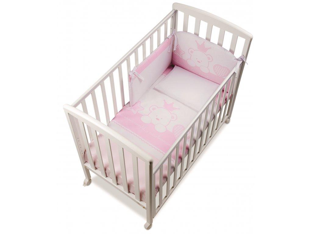 Italbaby Baby Re mantinel s posteľnou bielizňou ružový