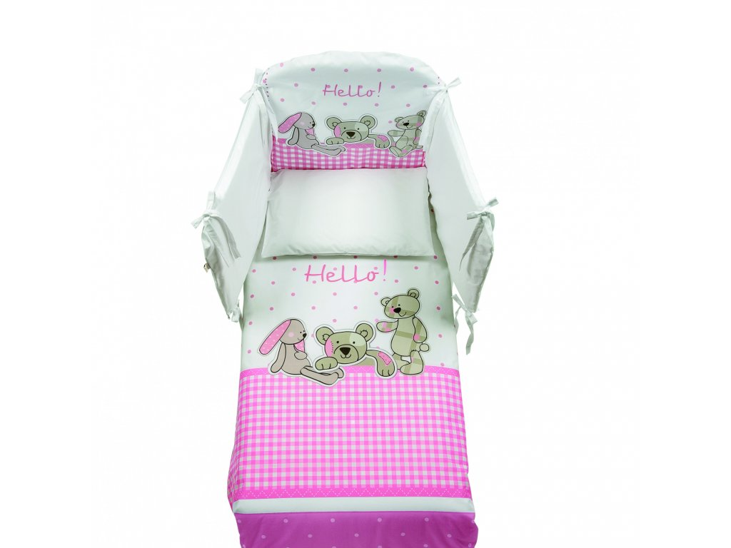 Italbaby Hello mantinel s posteľnou bielizňou ružový