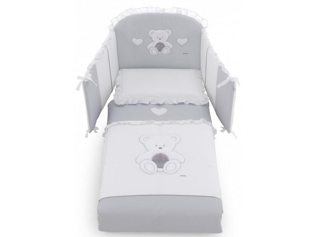 Italbaby Peluche mantinel s posteľnou bielizňou šedý