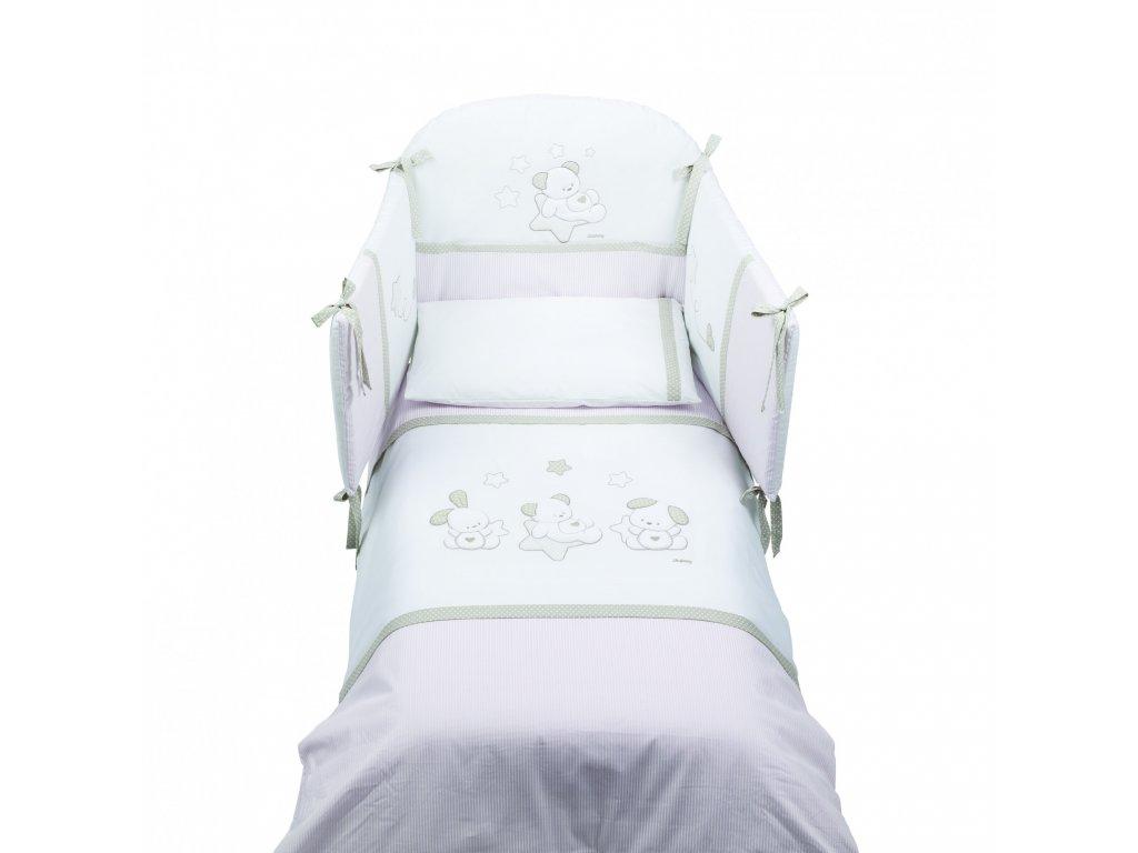 Italbaby Sweet Stars mantinel s posteľnou bielizňou ružový