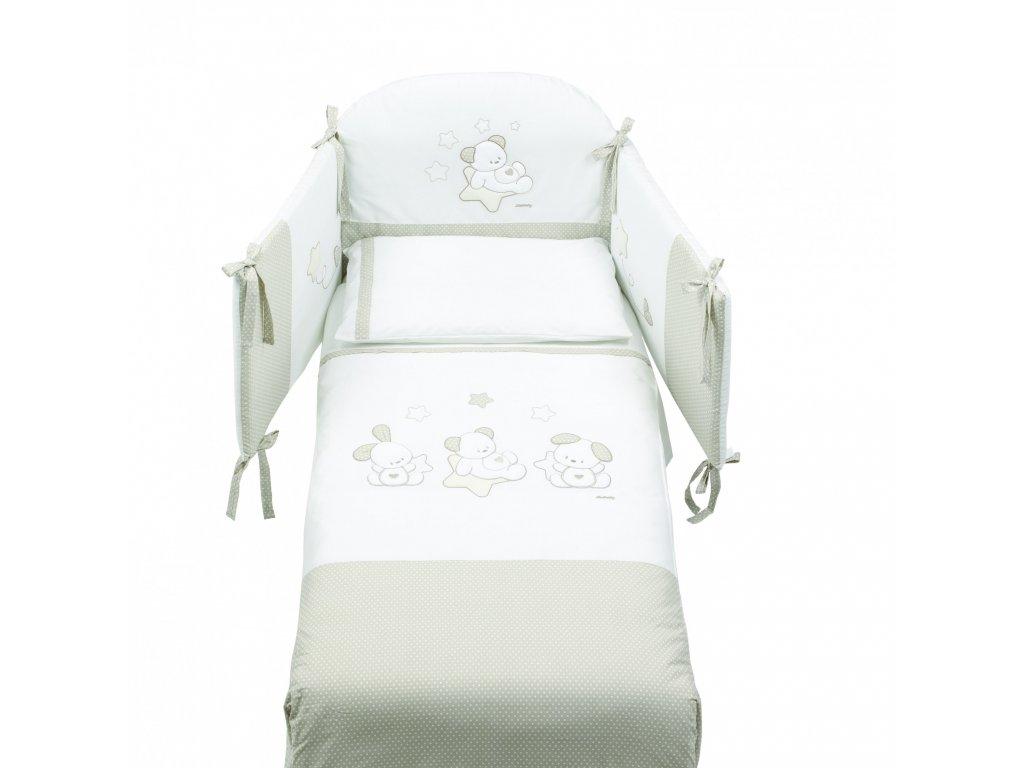 Italbaby Sweet Stars mantinel s posteľnou bielizňou šedý