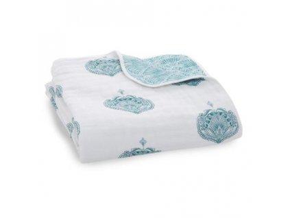 Aden & Anais bavlnená deka do postieľky Paisley Teal