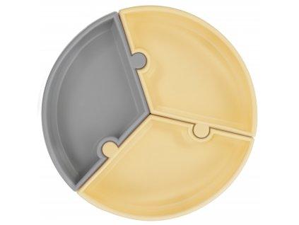 Tanier s prísavkou Puzzle šedo žltý