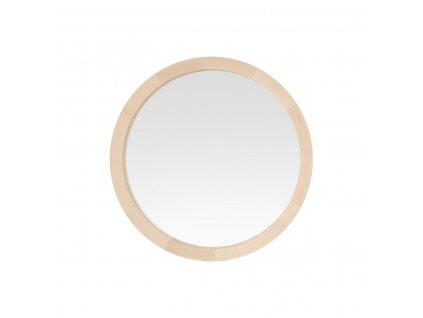 Okrúhle zrkadlo s dreveným rámom