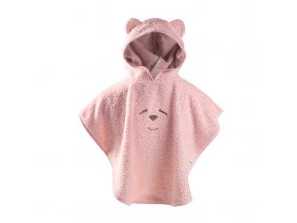 Nanán pončo uterák s kapucňou ružový