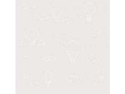 Caramella béžová tapeta s teplovzdušnými balónmi
